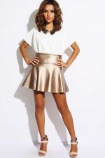Buy TRENDY CASUAL GOLDEN BROWN FAUX LEATHER SKATER SKIRT S,M,L