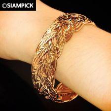 Buy 22k 23k Thai Baht Pink Gold Plated GP Charm Bangle Bracelet Vintage Jewelry B070