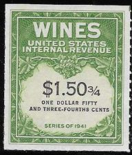 Buy US Internal Revenue $1.50 3/4 Wine Tax Stamp RE195 Series 1941 Mint NH