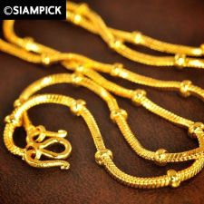 """Buy 18"""" Snake Bead Chain Thai Baht Yellow Gold GP 22k 24k Necklace Real Jewelry 76"""