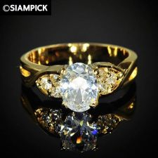 Buy 24k CZ Oval Wedding Engagement Ring Thai Baht Yellow Gold GP Size 6.5 Jewelry 12
