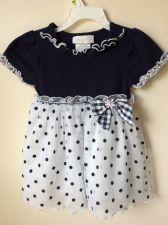 Buy Bonnie Baby Polka Dot Dress Size 24m Navy Blue White
