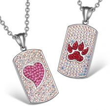 Buy Heart and Wolf Paw Austrian Crystal Love Couples Best Friends Dog Tag Rainbow White P