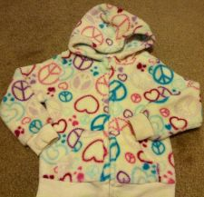 Buy Toughskins For Sweet Girls Multi Color Peace Sign Hoodie Fleece Jacket Size 24m