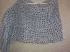 Buy Hand Crocheted Bernat Denim Ragg Lacy Fringed Shawl Capelet Wrap