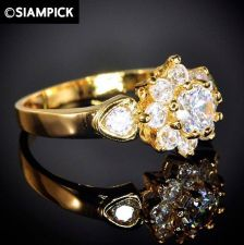 Buy CZ 22k 24k Thai Baht Yellow Gold GP Wedding Engage Ring Size 5 6 7 Jewelry R009