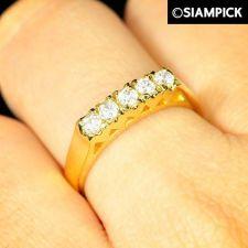 Buy 22k 24k CZ Round Ring Size 5 6 7 Thai Baht Yellow Gold GP Wedding Jewelry R020