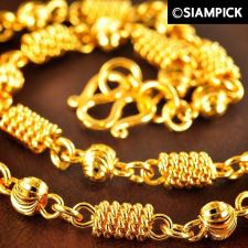 "Buy 24"" Barrel 22k 24k Moon Cut Chain Necklace Thai Baht Yellow Gold GP Jewelry N081"