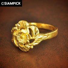 Buy 24k Wedding Engagement Flower Ring Thai Baht Yellow Gold GP Size 7 Jewelry GF 4