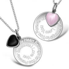 Buy My Heart Belongs to You Forever Heart Couples Set Simulated Onyx Pink Simulated Cats