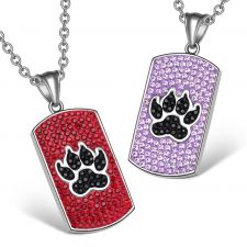 Buy Wolf Paw Austrian Crystal Love Couples or Best Friends Dog Tag Cherry Red Black Laven