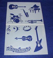 Buy 2 Piece Set -Mylar 14 Mil Music Stencils Painting/Crafts/Stencil/Template