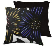 Buy Rolan 18x18 Yellow Blue White Black Pillow Flowers Floral Botanical Cover Cushion Cas