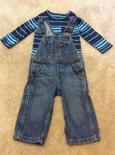 Buy OshKosh Kids Denim Overalls With Stripe Shirt Toddler Boys Size 18 Months