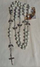 Buy angel white cat's eye silver plated handmade rosary