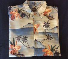 Buy Neiman Marcus Men's Floral Fish Button Down Shirt Size XL 100% Rayon