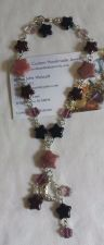 Buy star and moon rhodonite and glass silver plated handmade anklet sizing available