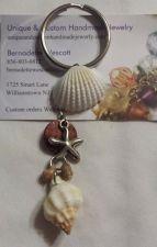 Buy starfish and shell brown and white handmade keyring