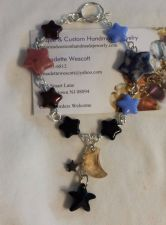 Buy star and moon sodalite, rhodnite and czech glass handmade bracelet sizing avail.
