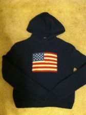 Buy The Limited Vintage American Flag Hooded Sweater Navy Wool Size Medium