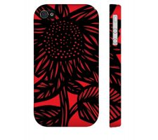 Buy Maderios Red Black Iphone 4/4S Apple Phone Case Flowers Botanical