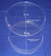 "Buy 2 Piece Circle Set - NO seam 7"" & 9"" ~ 1/4"" Thick - Long Arm -Multi Use"
