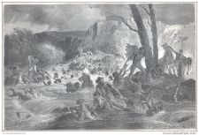 Buy ABYSSINIA (ETHIOPIA) - THE REGIMENT RESCUED FROM THE RIVER - engraving from 1867