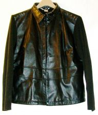 Buy EUC youth sz. L NYGARD, Black, leather/knitted, snap closure jacket