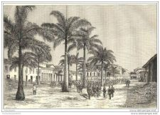 Buy ECUADOR - STREET IN MANAOS - engraving from 1883