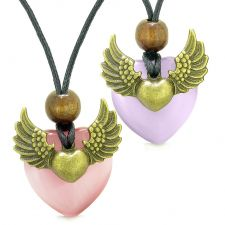Buy Angel Wings Love Couple or Best Friends Heart Yin Yang Amulets Pink Purple Simulated