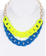Buy Blue And Yellow Chunky Necklace