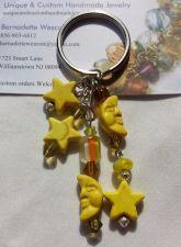 Buy star and moon yellow handmade keyring