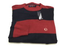 Buy Nautica L Men's Sweater Long Sleeve Shirt Crew Neck Red Navy Blue Stripe NEW NWT
