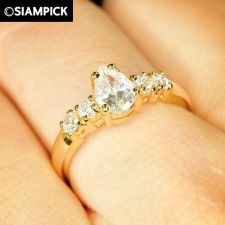 Buy 24k CZ Drop Shape Wedding Ring Thai Baht Yellow Gold GP Size 6 7 8 Jewelry R013