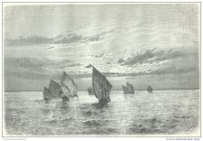 Buy ZANZIBAR (AFRICA) - SUNSET ON THE LAKE - engraving from 1878