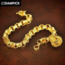 Buy 24k Classic Rolo Chain Thai Baht Yellow Gold GP Bracelet Bangle Jewelry New #134
