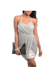 Buy GRAY TRENDY COCKTAIL DRESS WITH A RUCHED CRISS CROSS DRAPED S,M,L