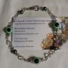 Buy evil eye green and clear glass silver plated handmade anklet sizing available