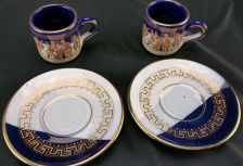 Buy Best Hand Made Expresso Tea 2 Piece Set 24k Made in Greese Greek, Roman Graphics