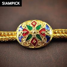 """Buy 20"""" Thai Baht Enamel 22k 24k Yellow Gold Plated Real Chain Necklace Jewelry N039"""