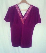 Buy Excellent condition women's, sz., manzana, plum, short sleeve, shirt