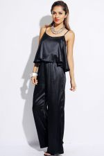 Buy Beulah,Sexy Solid Black, Ruffle Front, Jumpsuit, S,M,L , PARTY JUMPSUIT,CLUBWEAR
