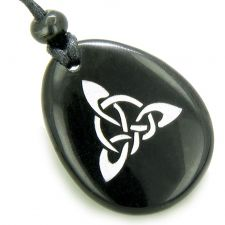 Buy Lucky Horse Shoe Clover Wish Stone Natural Agate Pendant Necklace
