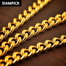 """Buy 24"""" Thai Baht Yellow Gold GP Curb Chain Necklace 22k 24k Jewelry Pendant N055 GF"""