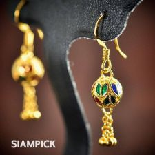 Buy Thai Enamel 24k Yellow Gold Baht GP Vintage Earrings Dangle Jewelry Long E008
