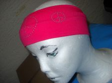 Buy Studded peace Sign Elastic Hair Headband wide soft stretch pick Pink Red Black