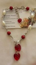 Buy red and white heart glass pearls and crystals handmade anklet sizing available