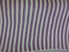 Buy Hand Crocheted Purple and White Striped Lacy Afghan Throw