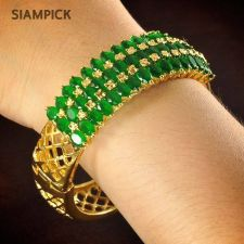 Buy CZ Emerald Gems 22k 24k Thai Baht Yellow Gold GP Bangle Bracelet Jewelry B031