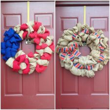 Buy Burlap Summer 4th Of July Primitive Door Wreath Handmade USA Seller